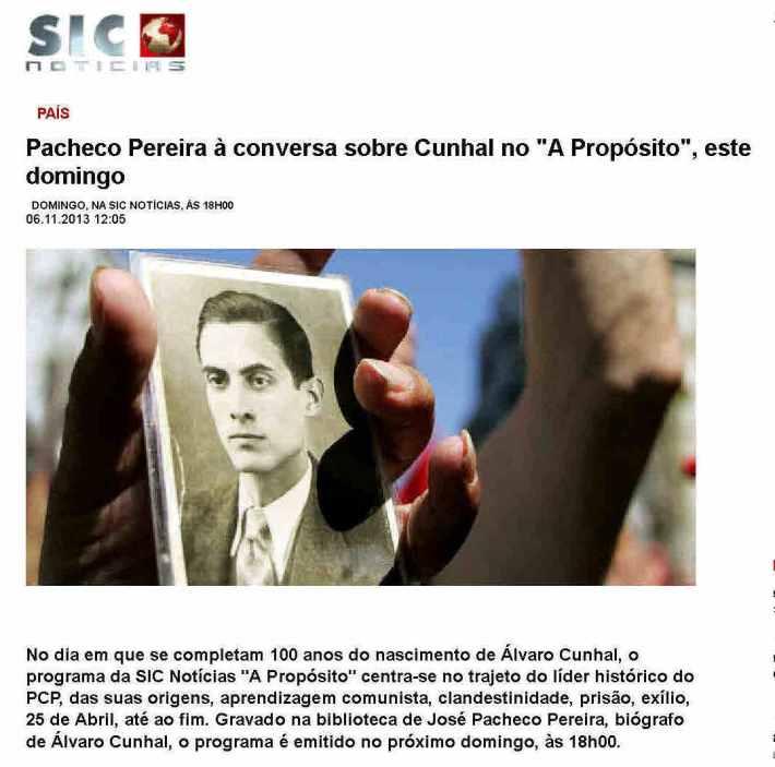 Pacheco Pereira à conversa sobre Cunhal no _A Propósito_, este domingo - SIC Notícias